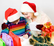 Family writes  letter to Santa Claus Stock Photo