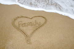 Family written in sand on a beach. Royalty Free Stock Photo