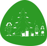 Family xmas. Happy family with decorated Christmas tree. Childs with gifts Royalty Free Stock Photo