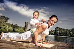 Family yoga Royalty Free Stock Photos