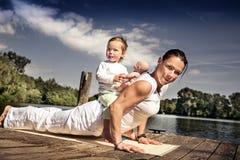 Family yoga Royalty Free Stock Photos