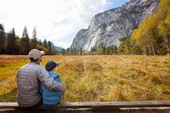 Family in yosemite royalty free stock photos