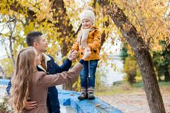 A family with a young boy in the autumn forest walk. 1 Royalty Free Stock Image