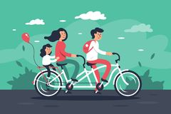 Family with young woman, man with bags, child girl riding a bike. royalty free illustration