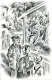 Family at the zoo. Pastel monochrome illustration Stock Image