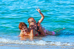 Familys summer holidays on sea. Royalty Free Stock Images