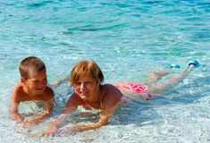 Familys summer holidays on sea (Greece). Stock Photos