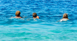 Familys summer holidays on sea (Greece). Royalty Free Stock Images