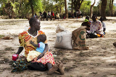Famine. A young woman has brought her child to the foodstation in Serewa, Kenya