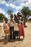 Famine. The children are among those who suffer the most because of the famine. Here some local children at the foodstation in Serewa Royalty Free Stock Photo