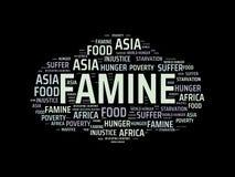 FAMINE - image avec des mots liés à la FAMINE de sujet, nuage de mot, cube, lettre, image, illustration Images libres de droits