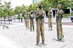 The Famine Memorial, Dublin, Ireland. The Famine Memorial bronze sculptures on Custom House Quay in Baile Atha Cliath, Eire Stock Photos