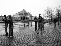 Famine. Memorial in Dublin by Rowan Gillespie is a sad remind of the Irish people that were forced to emigrate to America due the 19th century Stock Image
