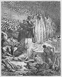 The Famine in Samaria. Picture from The Holy Scriptures, Old and New Testaments books collection published in 1885, Stuttgart-Germany. Drawings by Gustave Stock Image