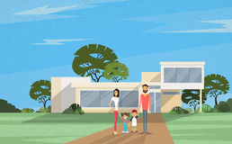 Famity Parents Two Kids Holding Hands In Front Of New House. Famity Parents Two Kids In Front of New House Modern Villa Vector Illustration royalty free illustration