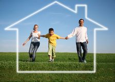 Família. casa ideal Imagens de Stock Royalty Free