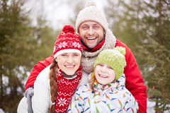 Família com sorrisos toothy Foto de Stock Royalty Free