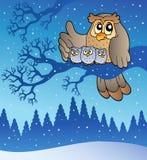 Família da coruja no inverno Foto de Stock Royalty Free