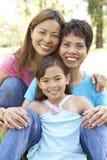 Família de 3 gerações que tem o divertimento no parque Imagens de Stock Royalty Free
