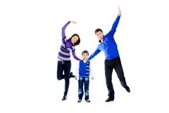 Família de salto Imagens de Stock