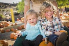 A família do divertimento aprecia um dia no remendo da abóbora Fotos de Stock Royalty Free