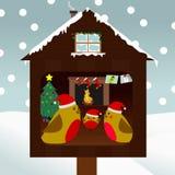 Família dos pássaros que comemoram o Natal Imagens de Stock Royalty Free