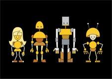 Família dos robôs dos desenhos animados Fotos de Stock Royalty Free