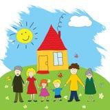 Família feliz, estilo do desenho da criança Foto de Stock Royalty Free