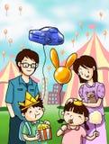 Família feliz no festival do divertimento Fotografia de Stock