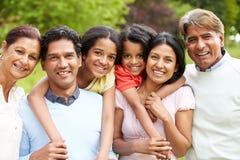 Família indiana da Muti-geração que anda no campo Foto de Stock Royalty Free