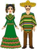 Família mexicana na roupa festiva tradicional Imagens de Stock Royalty Free