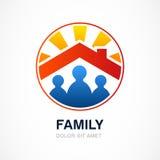 Família na casa, ilustração do vetor Te do projeto do logotipo dos bens imobiliários Foto de Stock