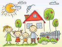 Família perto de sua casa Foto de Stock Royalty Free