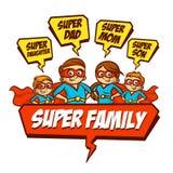 Família super Super-herói de Mother Daughter Son do pai jogo Foto de Stock