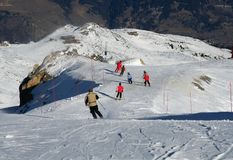 Famly skiing Stock Photo