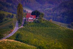 South Styrian Wine Road in Autumn in the Evening stock photo