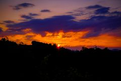 Sunset over the South Styrian Win Route royalty free stock photos