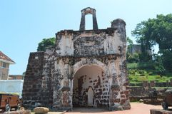 A Famosa Fort In Malacca Malaysia. This is a Portugis made fort in the year 1511 in Malacca Malaysia. It is also known as Porta De Santiago Stock Photos