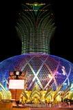 Famoso grande do diodo emissor de luz do casino de Lisboa, Macau, China Fotos de Stock Royalty Free