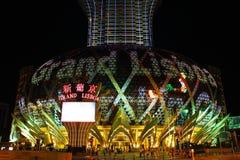 Famoso grande do diodo emissor de luz do casino de Lisboa, Macau, China Fotografia de Stock Royalty Free