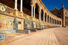 Famoso Plaza de Espana, Sevilha, Spain Imagens de Stock