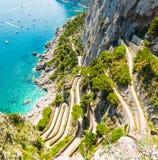 Famoso vía Krupp visto desde arriba en la isla de Capri fotos de archivo libres de regalías