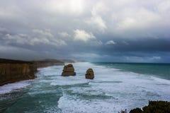 2 famosos dos 12 Apostel, Victoria, doze ap?stolos, grande estrada do oceano, Victoria foto de stock royalty free