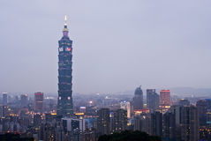 Famous 101 skyscraper and buildings in Taipei. City skyline at night with famous 101 skyscraper and buildings in Taipei, Taiwan Stock Image