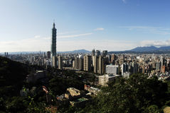 Famous 101 skyscraper and buildings in Taipei Stock Photos