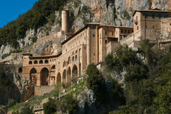 The famous abbey of Saint Benedict near Subiaco stock image