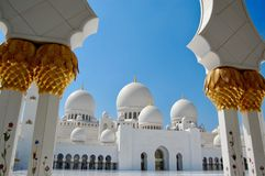The Famous Abu Dhabi Grand Mosque during the day stock images