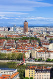 Famous aerial view of Lyon city Royalty Free Stock Photos
