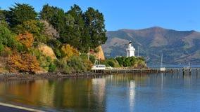 Famous Akaroa Lighthouse in Banks Peninsula. New Zealand stock images