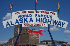 The famous alaska highway sign stock photo